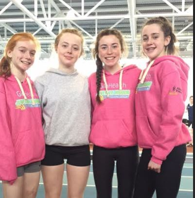 u15 girls relay indoors